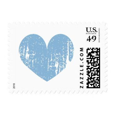 Beach Themed Blue and white vintage heart wedding stamps