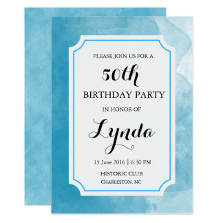 Blue and White Watercolor Birthday Invitation