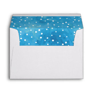 Blue and White Watercolor Dots Envelope