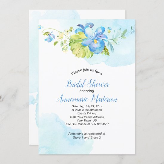 Blue and White Watercolor Floral Bridal Shower Invitation