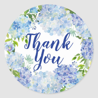 Blue and White Watercolor Floral Thank You Classic Round Sticker