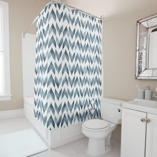 Blue And White Watercolor Moroccan Tile Pattern Shower Curtain