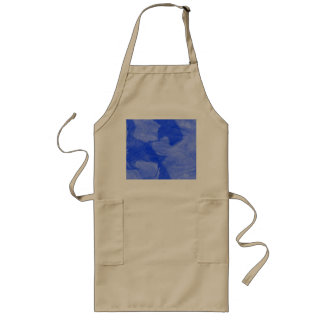 Blue and White Watercolor Print Long Apron