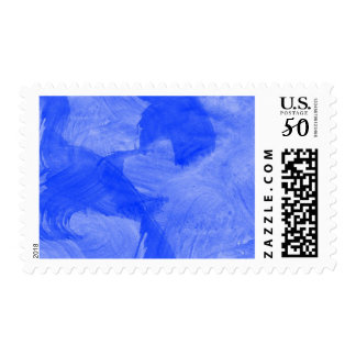 Blue and White Watercolor Print Postage