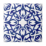 """Blue and White Watercolor Spanish Pattern Ceramic Tile<br><div class=""""desc"""">Accent your Mediterranean or Spanish style decor with these ceramic tiles. Design features a classic blue and white Spanish tile pattern, freshly updated in swirly, variegated watercolors. Pattern can be scaled up or down for a dramatic large scale effect or detailed intricate look; click """"Customize It, """" select the image,...</div>"""