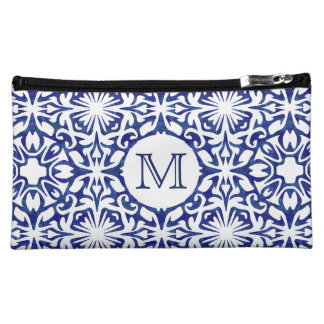 Blue and White Watercolor Spanish Tile Monogram Cosmetic Bag