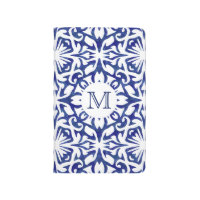Blue and White Watercolor Spanish Tile Monogram Journal