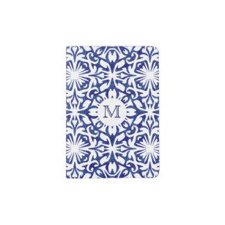 Blue and White Watercolor Spanish Tile Monogram Passport Holder