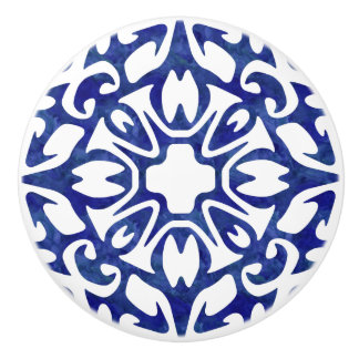 Blue and White Watercolor Spanish Tile Pattern Ceramic Knob