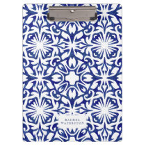 Blue and White Watercolor Spanish Tile Pattern Clipboard