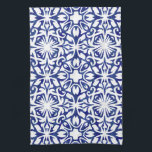 """Blue and White Watercolor Spanish Tile Pattern Towel<br><div class=""""desc"""">Our Spanish tile pattern towels are a beautiful addition to your Mediterranean style, blue and white, or beach house kitchen. Design features an allover classic Spanish tile fretwork pattern in royal blue and white with a modern watercolor twist. Pattern can be scaled up or down; click &quot;Customize It, &quot; select...</div>"""