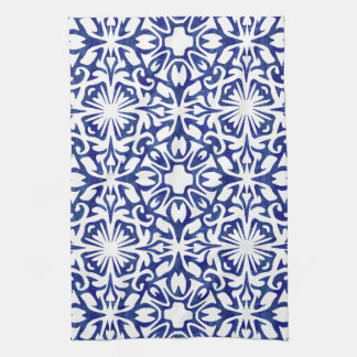 Blue and White Watercolor Spanish Tile Pattern Towel