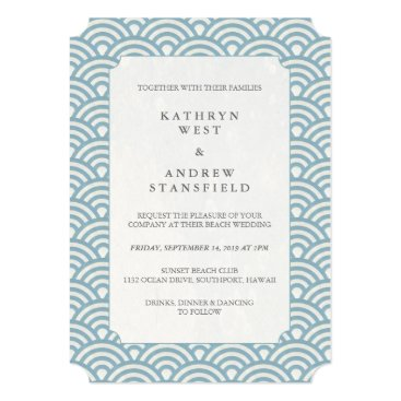 Beach Themed Blue and White Wave Pattern Wedding Invitation