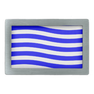 Blue and White Waves Rectangular Belt Buckle