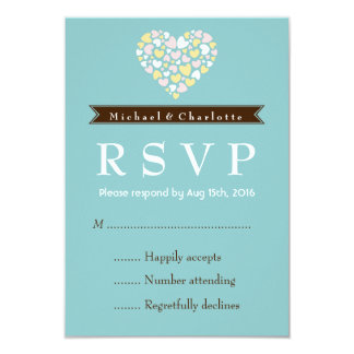 Blue and White Wedding RSVP Card with Small Hearts