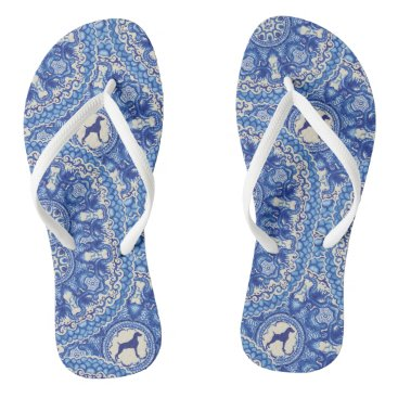 Beach Themed BLUE AND WHITE WEIM BEACH SANDALS