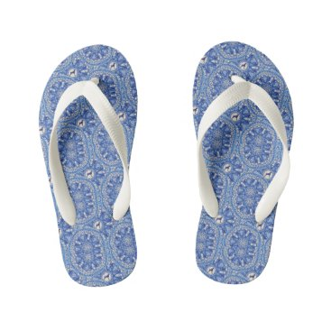 Beach Themed BLUE AND WHITE WEIM FLIP FLOPS, KIDS BEACH SANDALS