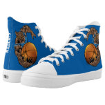 Blue and White Wildcats Basketball Player High-Top Sneakers