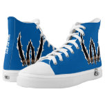 Blue and White Wildcats Claws Tearing Fabric High-Top Sneakers