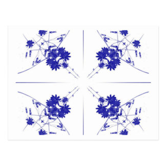 Blue and white wildflowers in a 4 up pattern postcard