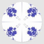 Blue and white wildflowers in a 4 up pattern sticker