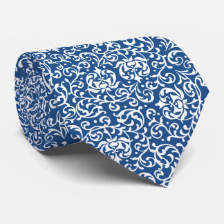 Blue and White William Morris Style Tudor Floral Tie