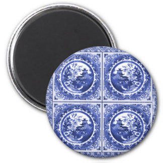 Blue and white, willow pattern design 2 inch round magnet