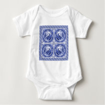 Blue and white, willow pattern design baby bodysuit