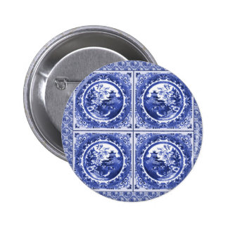 Blue and white, willow pattern design button