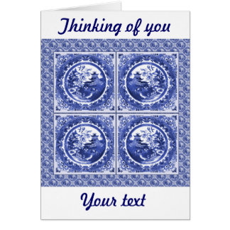 Blue and white, willow pattern design card