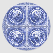 Blue and white, willow pattern design classic round sticker