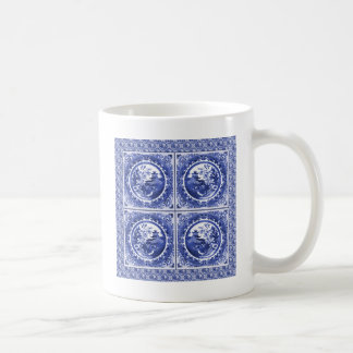 Blue and white, willow pattern design coffee mug