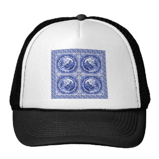 Blue and white, willow pattern design mesh hats