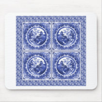 Blue and white, willow pattern design mouse pad