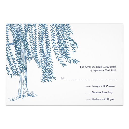 Blue and White Willow Tree Wedding RSVP Invitations