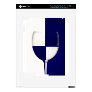 Blue and White wine glass shows the contrast iPad 3 Skin