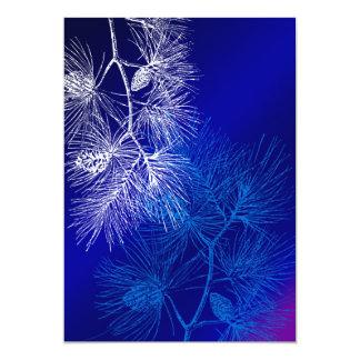 Blue and White Winter Pine 5x7 Paper Invitation Card