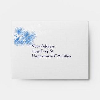 Blue and White Winter Pine Custom A2 RSVP Envelope