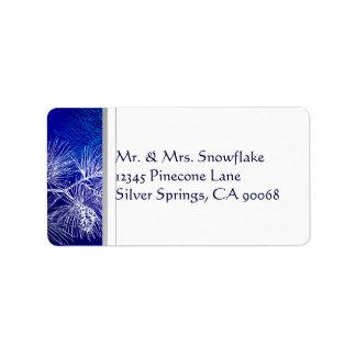 Blue and White Winter Pine Custom Address Address Label