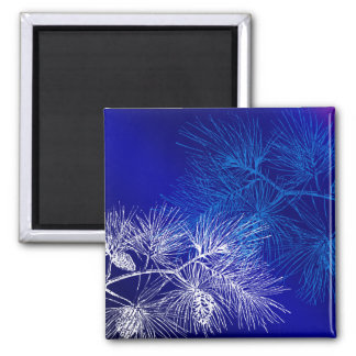 Blue and White Winter Pine Magnet