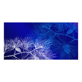 Blue and White Winter Pine Photo Card