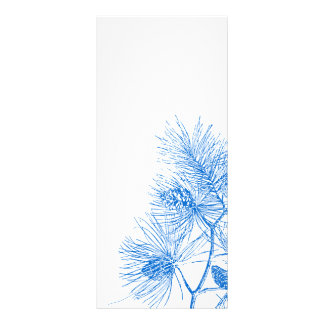 Blue and White Winter Pine Rack Card Template