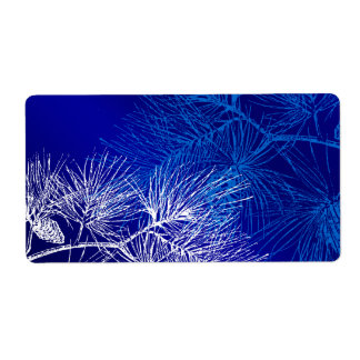 Blue and White Winter Pine Shipping Label