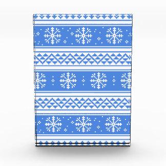 Blue And White Winter Snowflake Pattern Acrylic Award