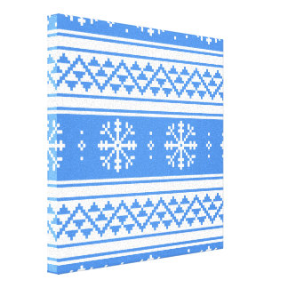 Blue And White Winter Snowflake Pattern Canvas Print