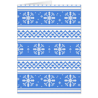 Blue And White Winter Snowflake Pattern Card