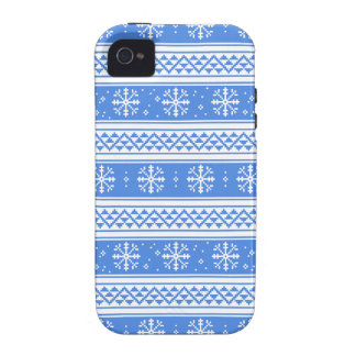 Blue And White Winter Snowflake Pattern iPhone 4/4S Cover