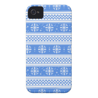 Blue And White Winter Snowflake Pattern Case-Mate iPhone 4 Case