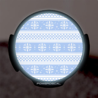 Blue And White Winter Snowflake Pattern LED Window Decal