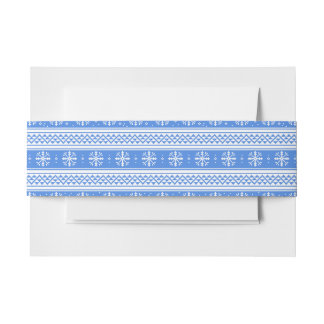 Blue And White Winter Snowflake Pattern Invitation Belly Band